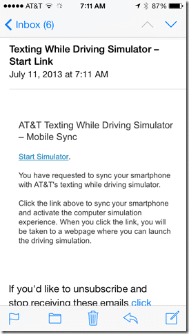 AT&T Texting & Driving simulator - mobile email
