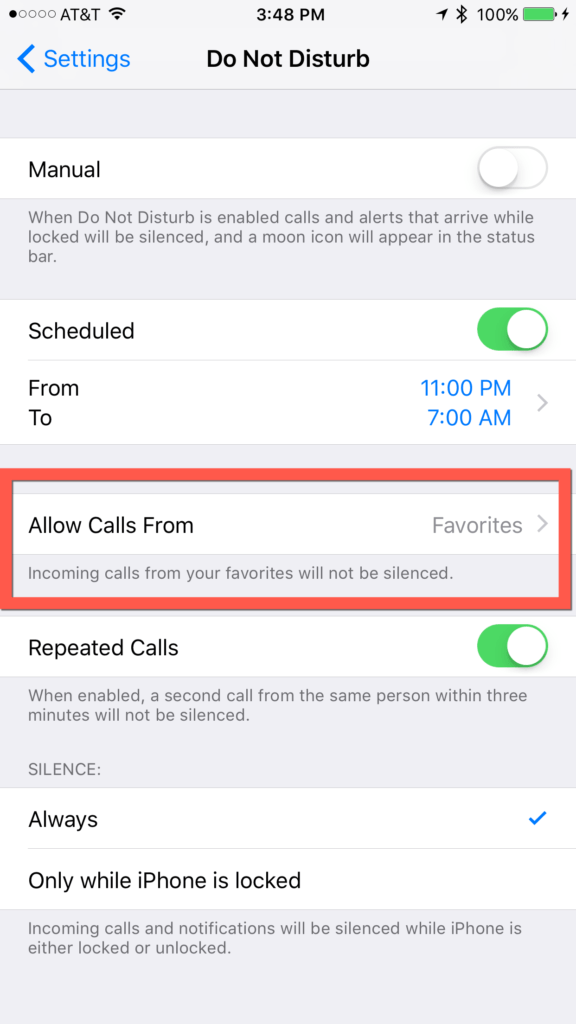 iOS 10 - Emergency Bypass - Do Not Disturb Setting