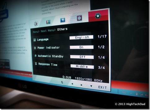 LG 23ET83 Touchscreen monitor - onscreen configurations