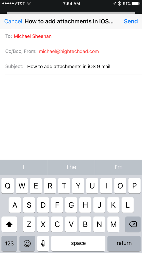 HTD Tip: How To Add Attachments in iOS 9 Email - Email draft