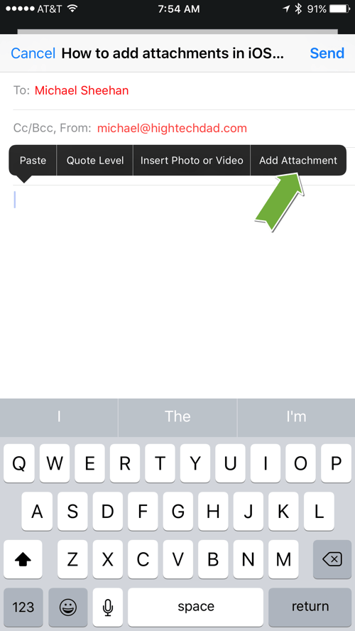 HTD Tip: How To Add Attachments in iOS 9 Email - enable attachments