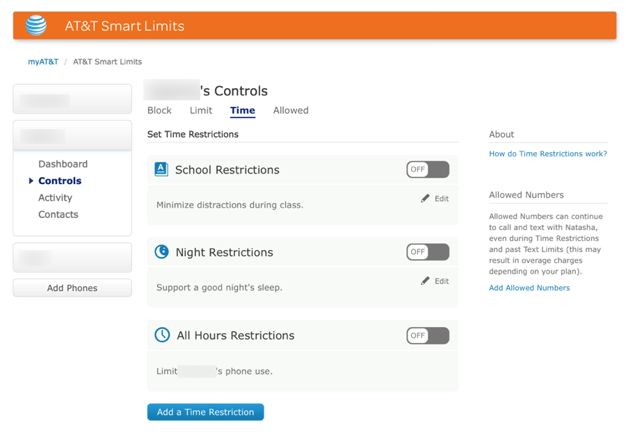 HTD AT&T Smart Limits - Time Restrictions