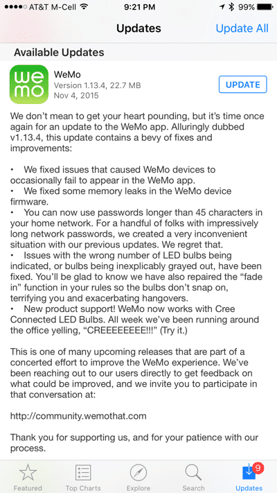 WeMo bug fix list