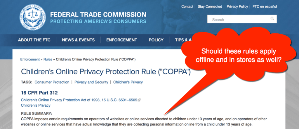 Children's Email Addresses - does COPPA apply offline too?