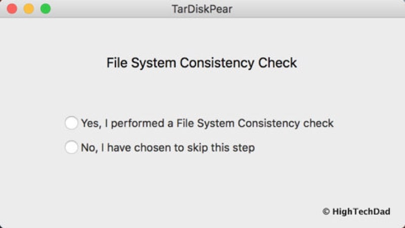HTD TarDisk Pear - consistency check