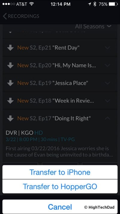 DISH HopperGO Review - transfer content (on iPhone)