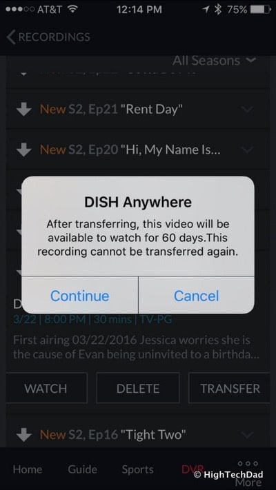 DISH HopperGO Review - recording available for 60 days