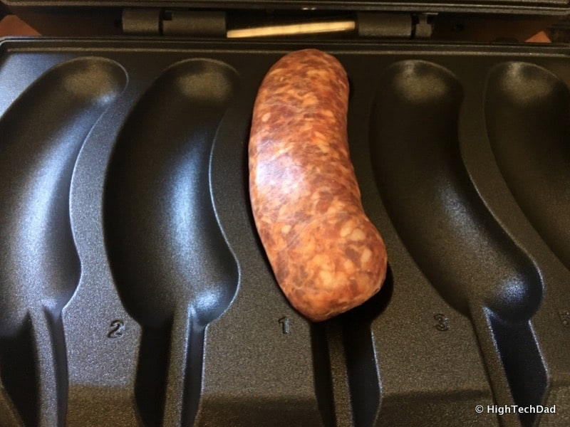 HighTechDad Johnsonville Sizzling Sausage Grill - cooking 1 sausage