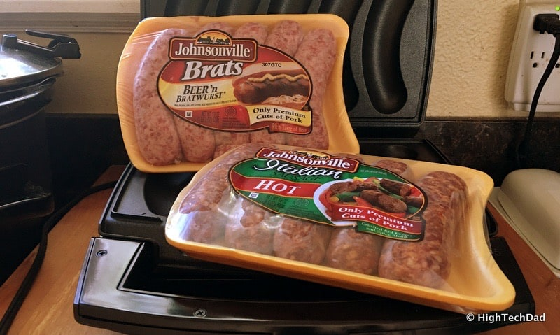 HighTechDad Johnsonville Sizzling Sausage Grill - sausages