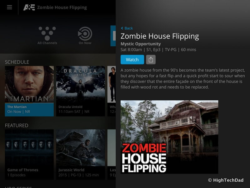 HighTechDad Sling TV - show details on iPad