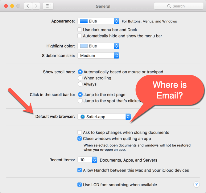 How to set the default email client in MacOS Sierra & El Capitan - Mac Preferences