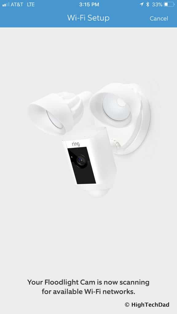 Ring Floodlight Cam - network search