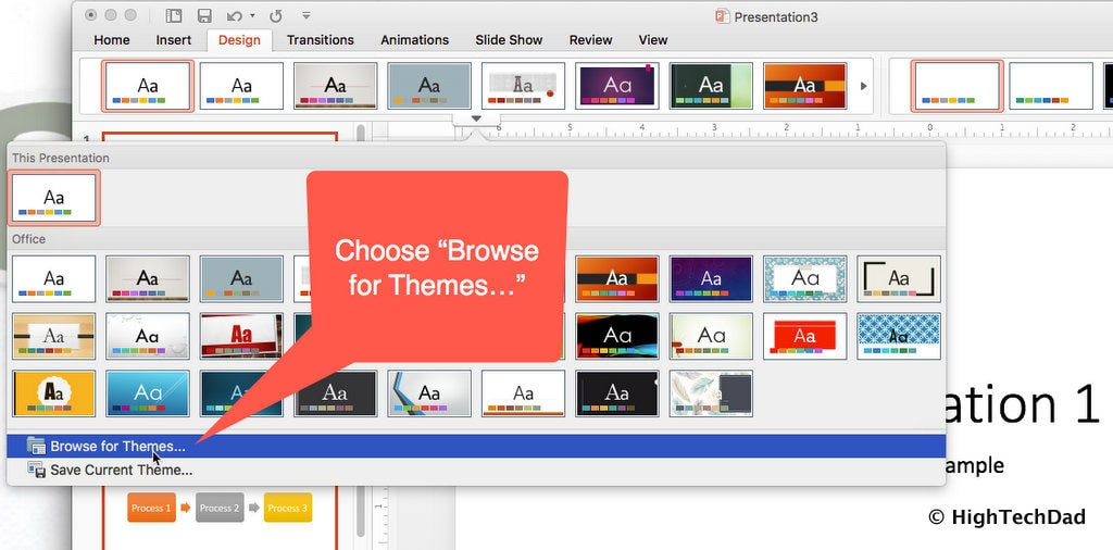 HTD PowerPoint Design - browse for themes