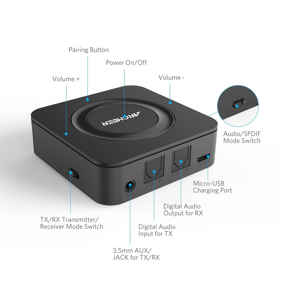 ARCHEER Bluetooth Transmitter & Receiver review - buttons & switches