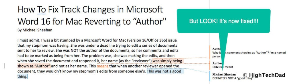 "HTD How to Fix Track Changes in Word for Mac reverting to ""Author"" - fixed"