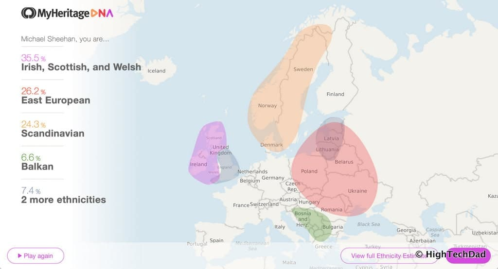 HTD MyHeritage DNA kit - map of results