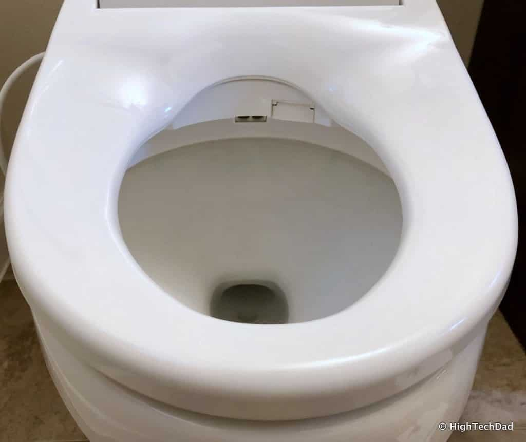 HighTechDad Omigo Toilet Seat Review - align the seat