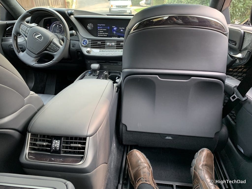 HighTechDad 2019 Lexus LS-500h review - front seat folded up