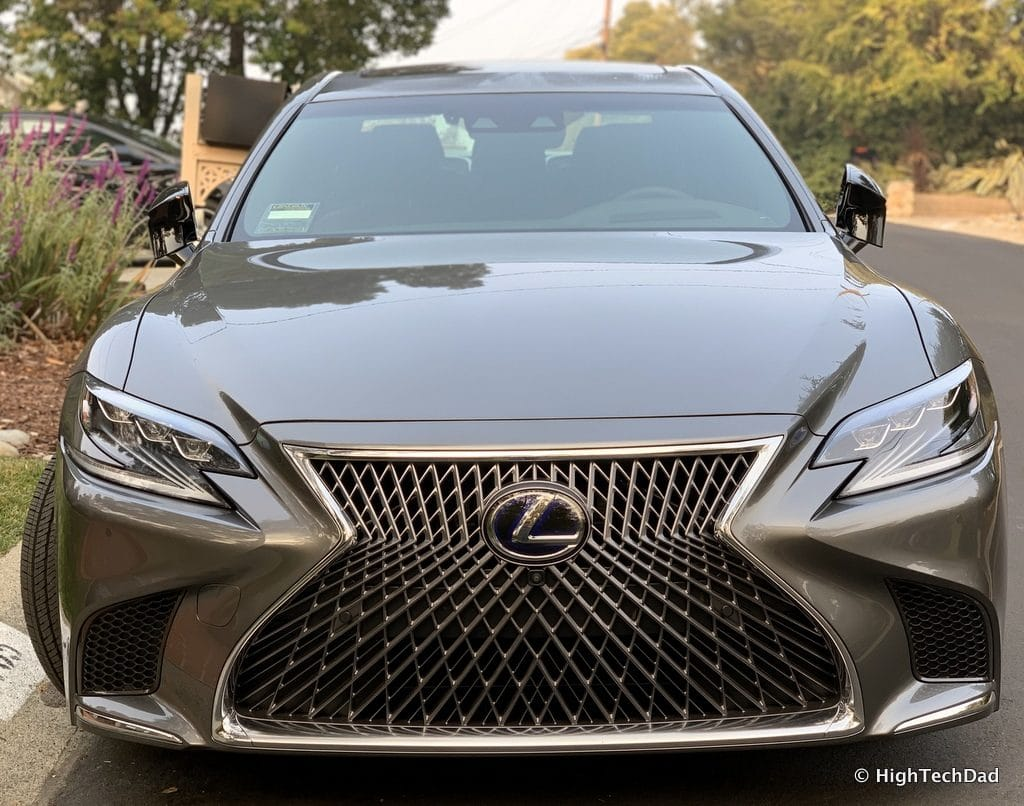 HighTechDad 2019 Lexus LS-500h review - front with cameras and sensors