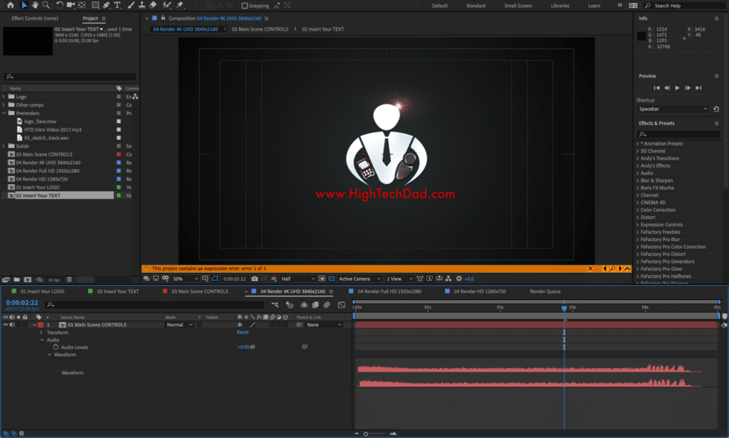 Editing the new HighTechDad intro logo animation for videos