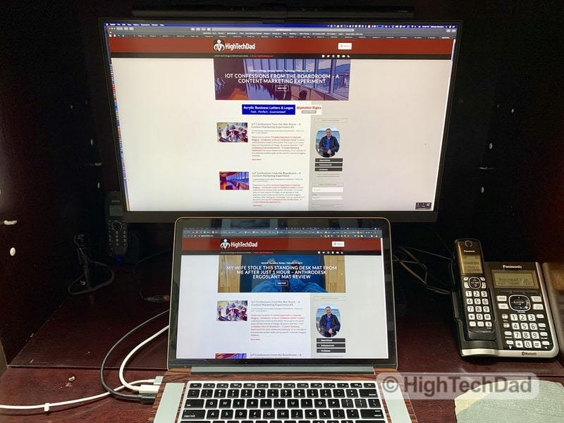 HighTechDad BenQ PD2700U monitor review - monitor above laptop
