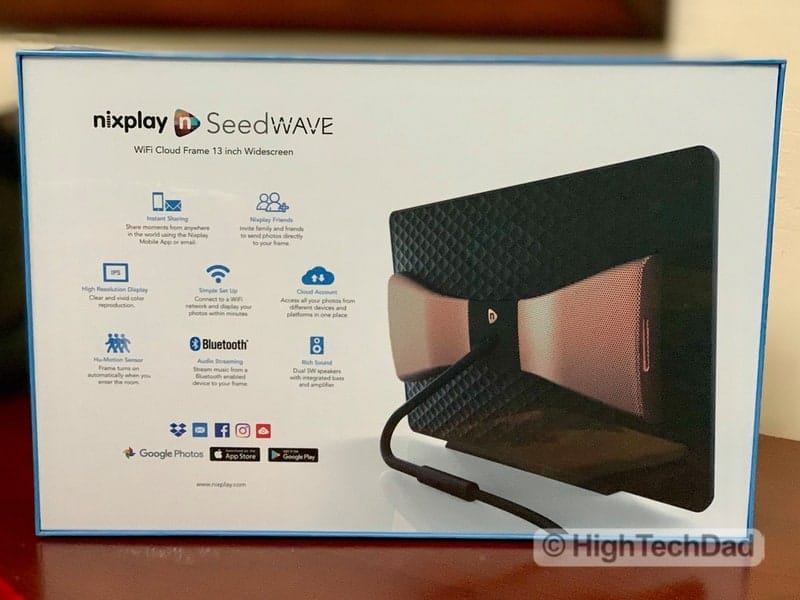 HighTechDad Nixplay Seed Wave review - back of box