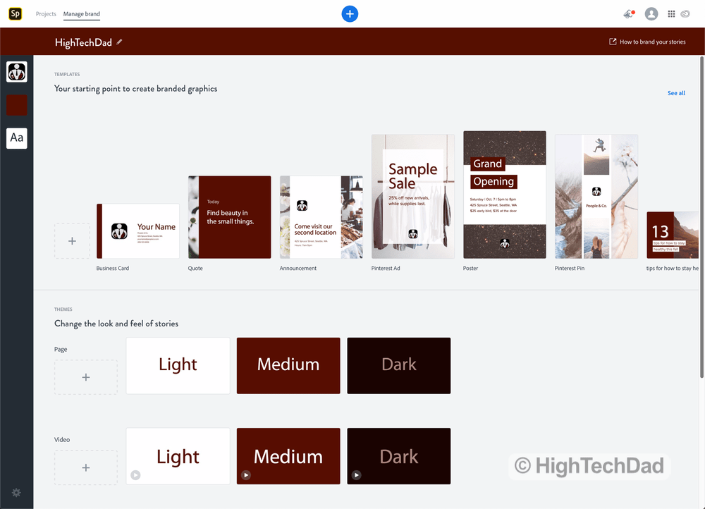 Brand designs within Adobe Spark (part of Adobe Creative Cloud)