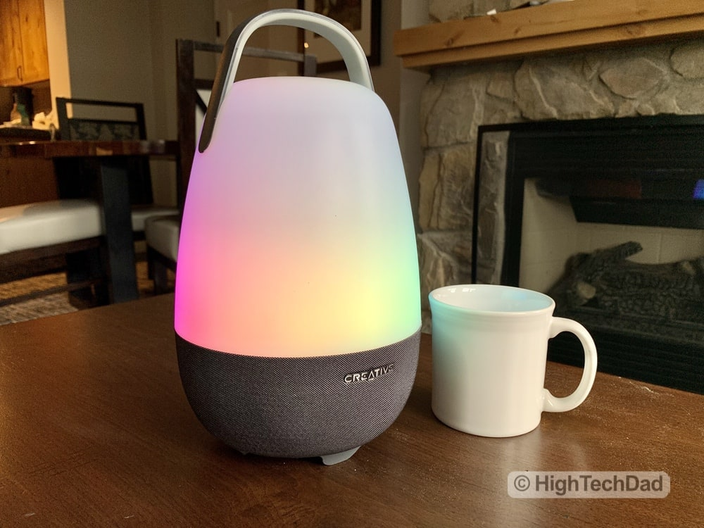 HighTechDad review Creative Nova Smart Speaker & Lamp - next to coffee mug