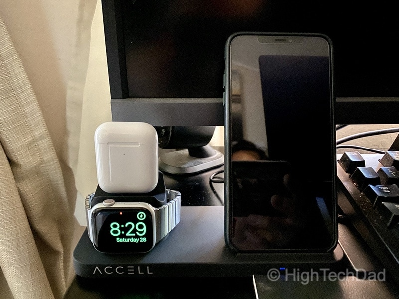 HighTechDad review of Accell 3-in-1 wireless charging solution on the desk charging Apple devices.