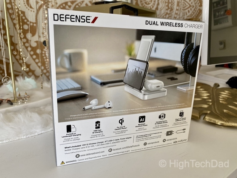 HighTechDad review - Defense Vertical Duo wireless charger - back of box