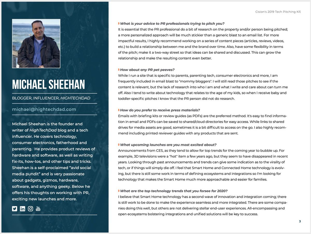 Michael Sheehan (HighTechDad) in the Cision Tech Pitching Guide