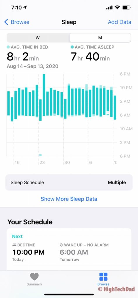 HighTechDad - watchOS 7 and sleep tracking