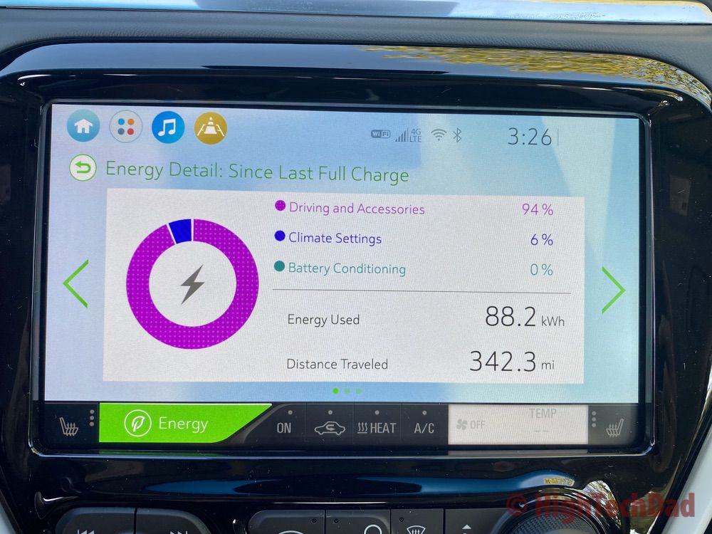 Energy consumption screens on 2020 Chevy Bolt