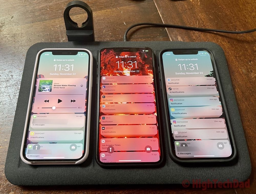 Wirelessly charge multiple smartphones with the Mophie 4-in-1 Wireless Charging Mat - HighTechDad review