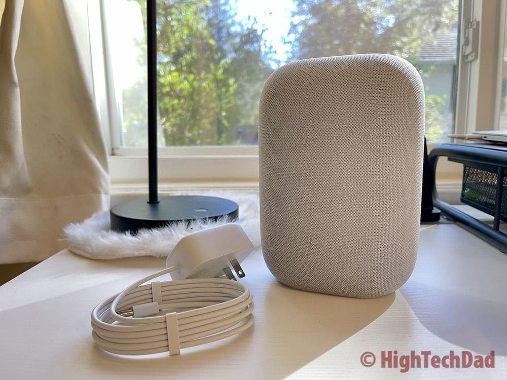 Nest Audio - smart speaker and power cord in the box - HighTechDad review