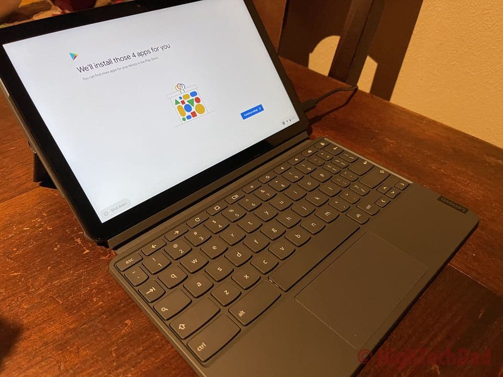 HighTechDad review - Lenovo Chromebook Duet side view of keyboard