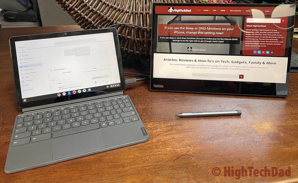 Chromebook Duet connected to Lenovo ThinkVision M14t - HighTechDad Review
