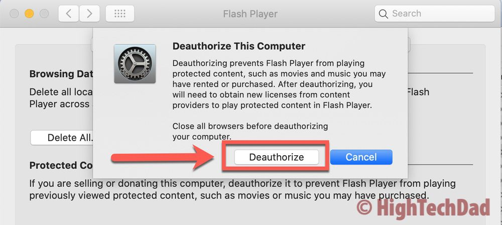 HighTechDad How to Uninstall Adobe Flash Player Mac 7 deauthorize - HighTechDad™