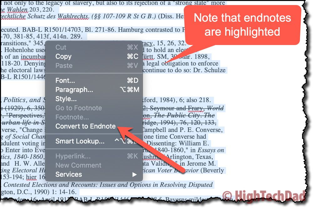 Bulk convert to endnote - How to Convert footnotes to endnotes - HighTechDad