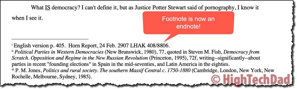 Footnote is now endnote - How to Convert footnotes to endnotes - HighTechDad