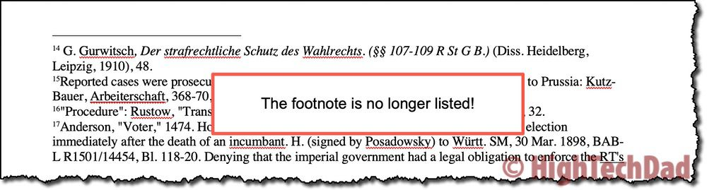 Footnote no longer listed - How to Convert footnotes to endnotes - HighTechDad