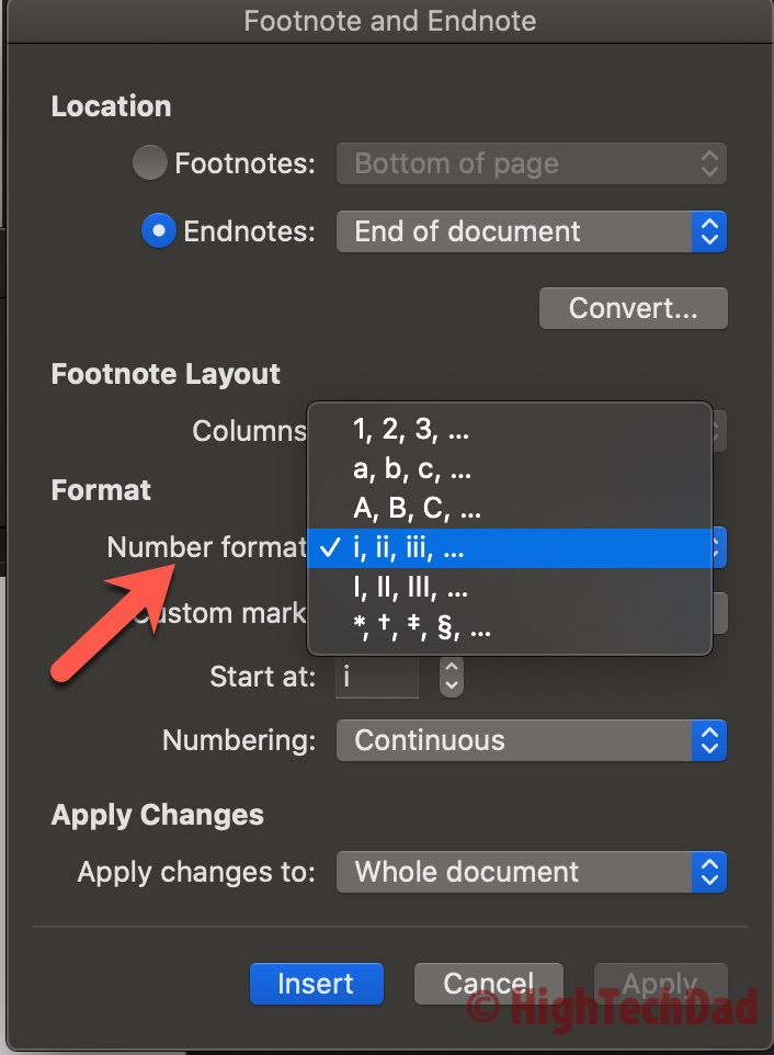 Format the selection - How to Convert footnotes to endnotes - HighTechDad