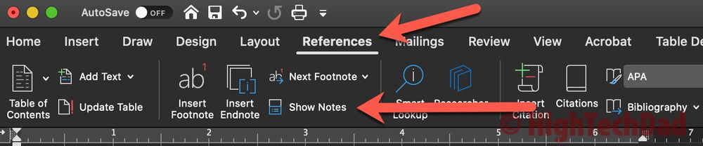Click on Reference and Show Notes - How to Convert footnotes to endnotes - HighTechDad