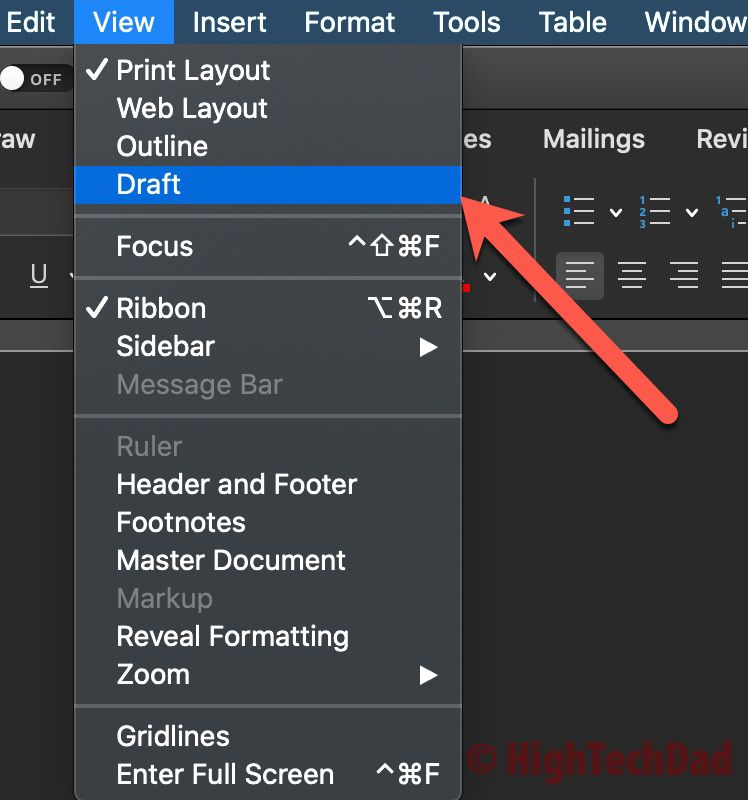 Select View Draft menu - How to Convert footnotes to endnotes - HighTechDad