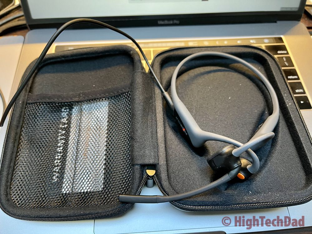 Carrying case for AfterShokz OpenComm Bluetooth headset & charging - HighTechDad review