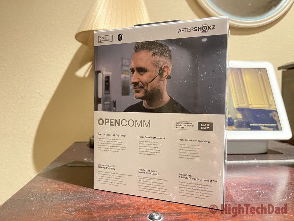 Back of box AfterShokz OpenComm headset - HighTechDad review