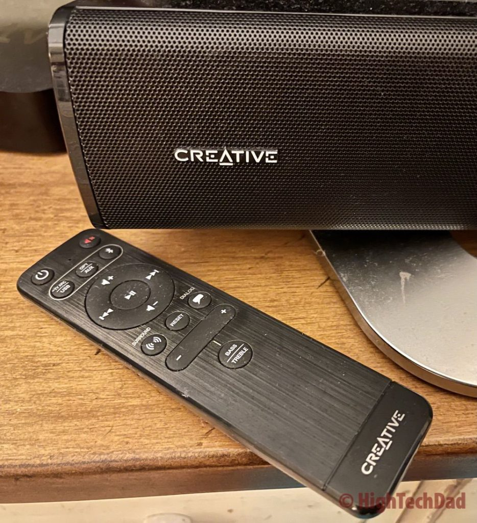 The remote control - Creative Stage V2 soundbar - HighTechDad review