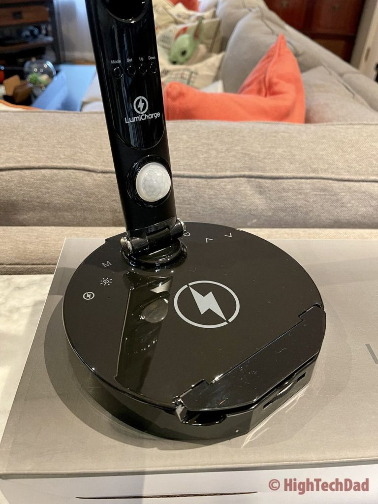 Charging base with soft-touch buttons - LumiCharge LED Desk Lamp - HighTechDad review