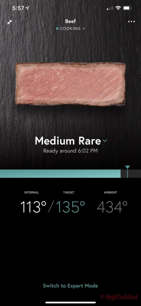 Cook time remaining - Yummly Smart Thermometer - HighTechDad review