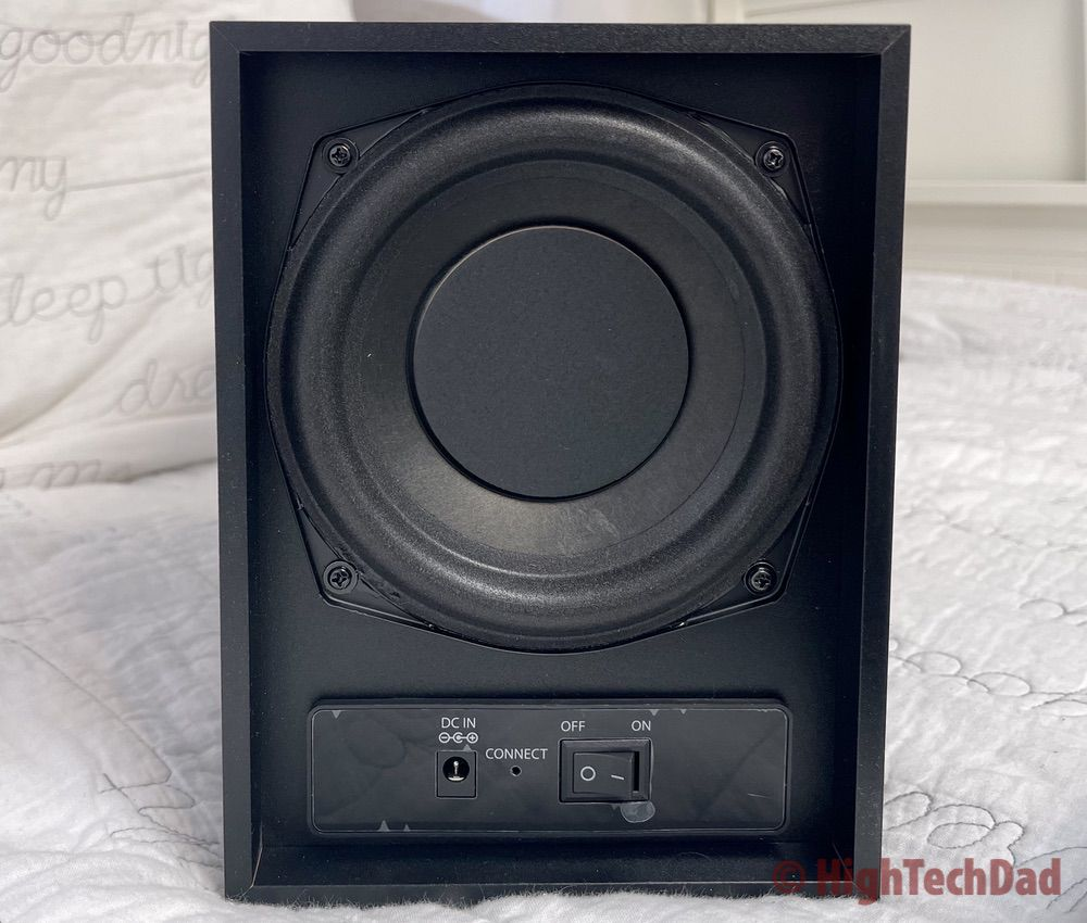 Back of the subwoofer - iLive HD Sound Bar - HighTechDad review